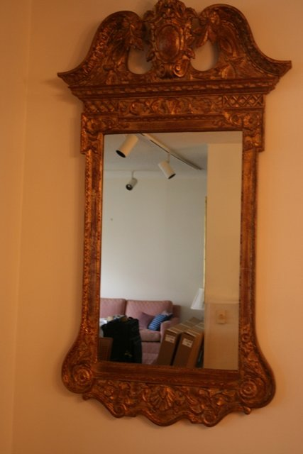 20: GILT WALL MIRROR CRESTED BY SWAN NECK PE