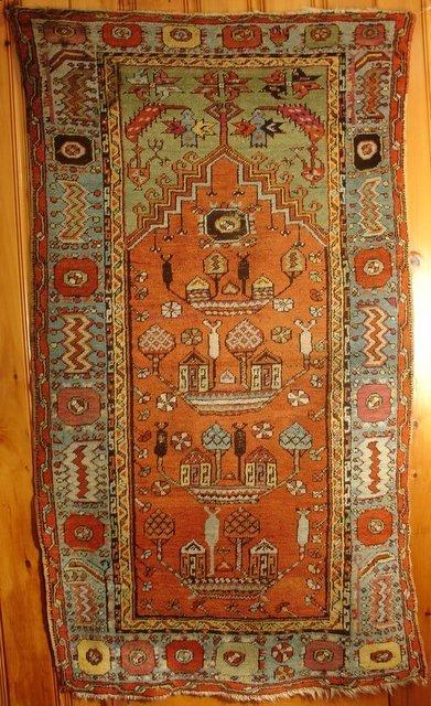 "21: TURKISH PRAYER RUG 3' 6"" X 6' 6"","