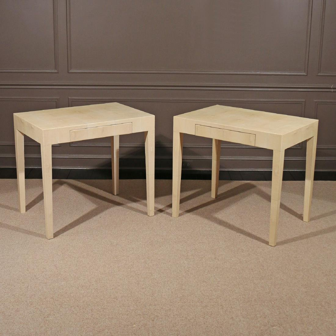 PAIR OF CONTEMPORARY GOATSKIN END TABLES