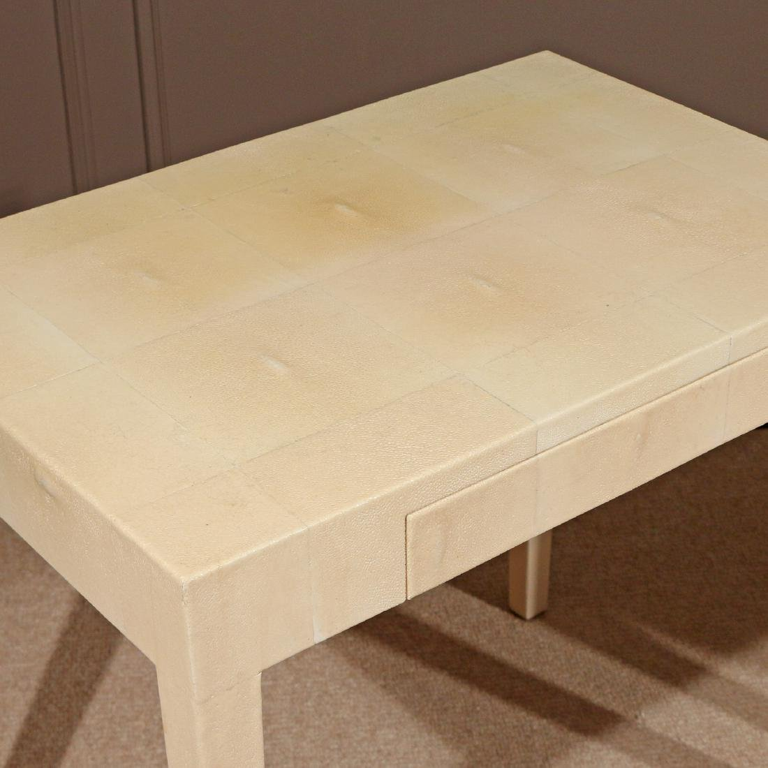 PAIR OF CONTEMPORARY GOATSKIN END TABLES - 2