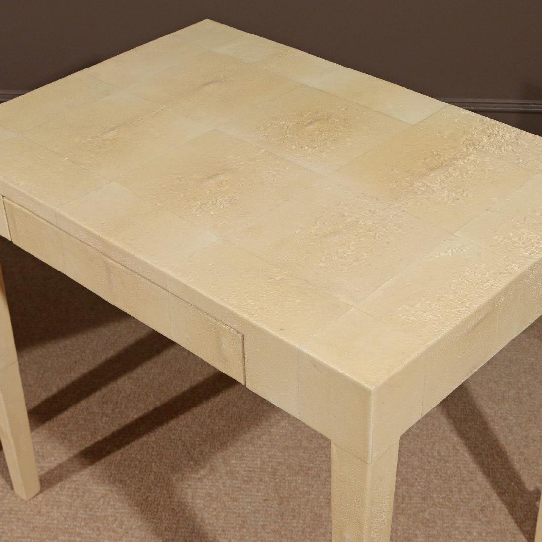 PAIR OF CONTEMPORARY GOATSKIN END TABLES - 3