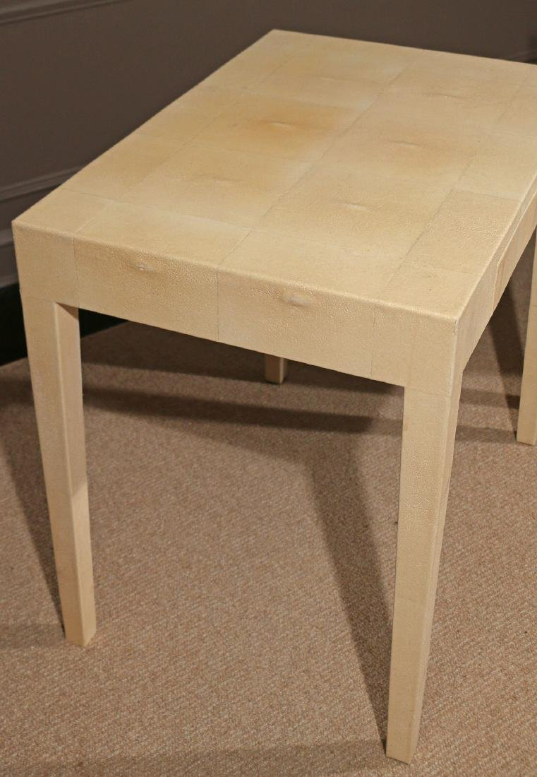 PAIR OF CONTEMPORARY GOATSKIN END TABLES - 6