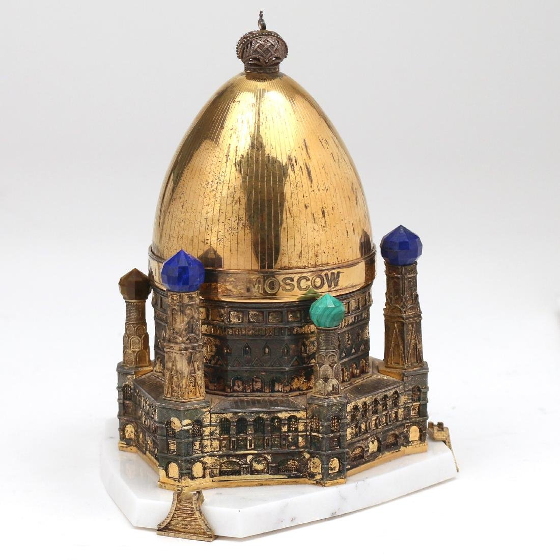 THEO FABERGE MOSCOW VERMEIL STERLING EGG