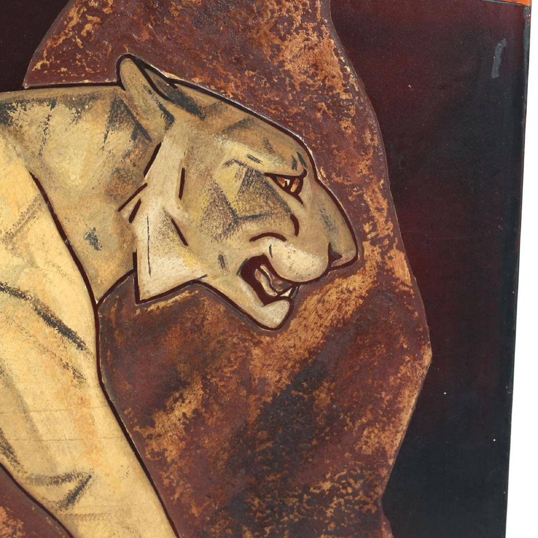 ART DECO POLYCHROMED WOOD PLAQUE CARVING OF TIGERS - 3