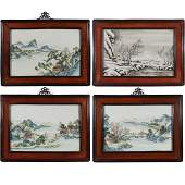 (4pc) CHINESE PORCELAIN PLAQUES BY ZOU LING
