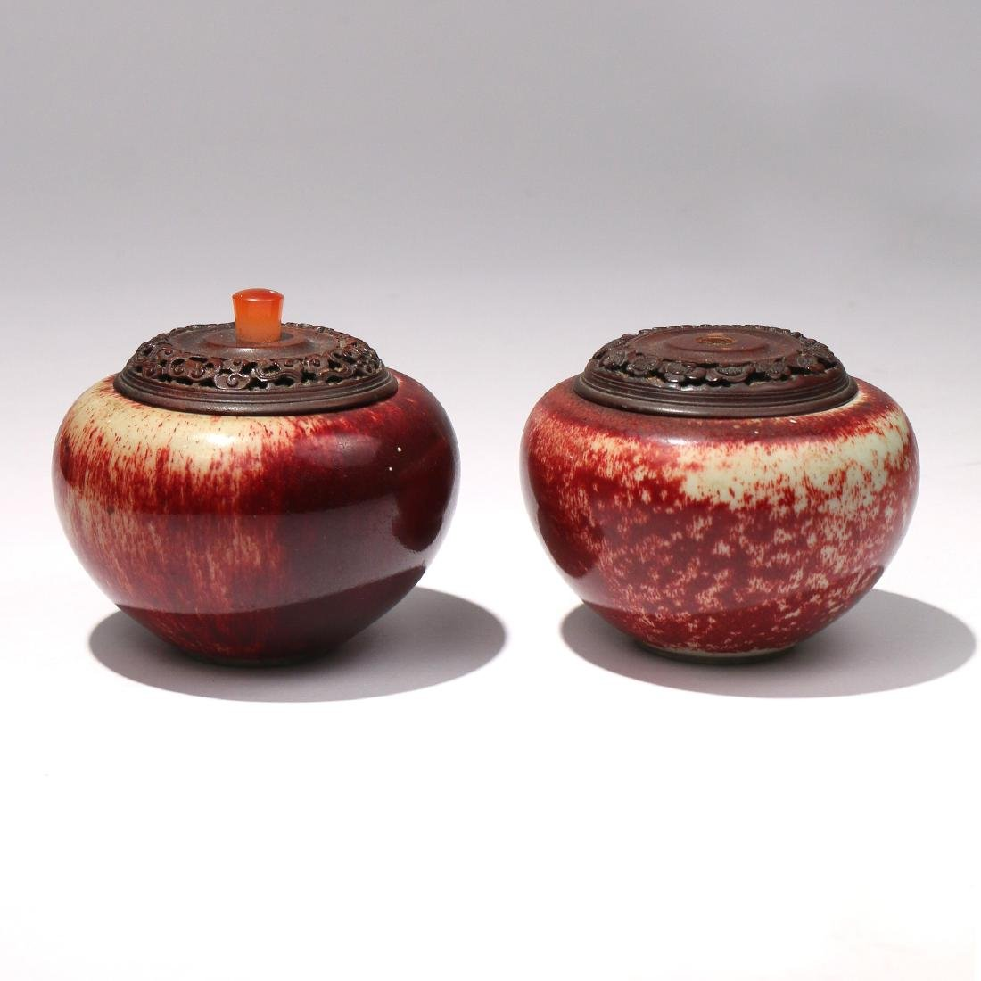 PAIR CHINESE OXBLOOD COVERED JARS