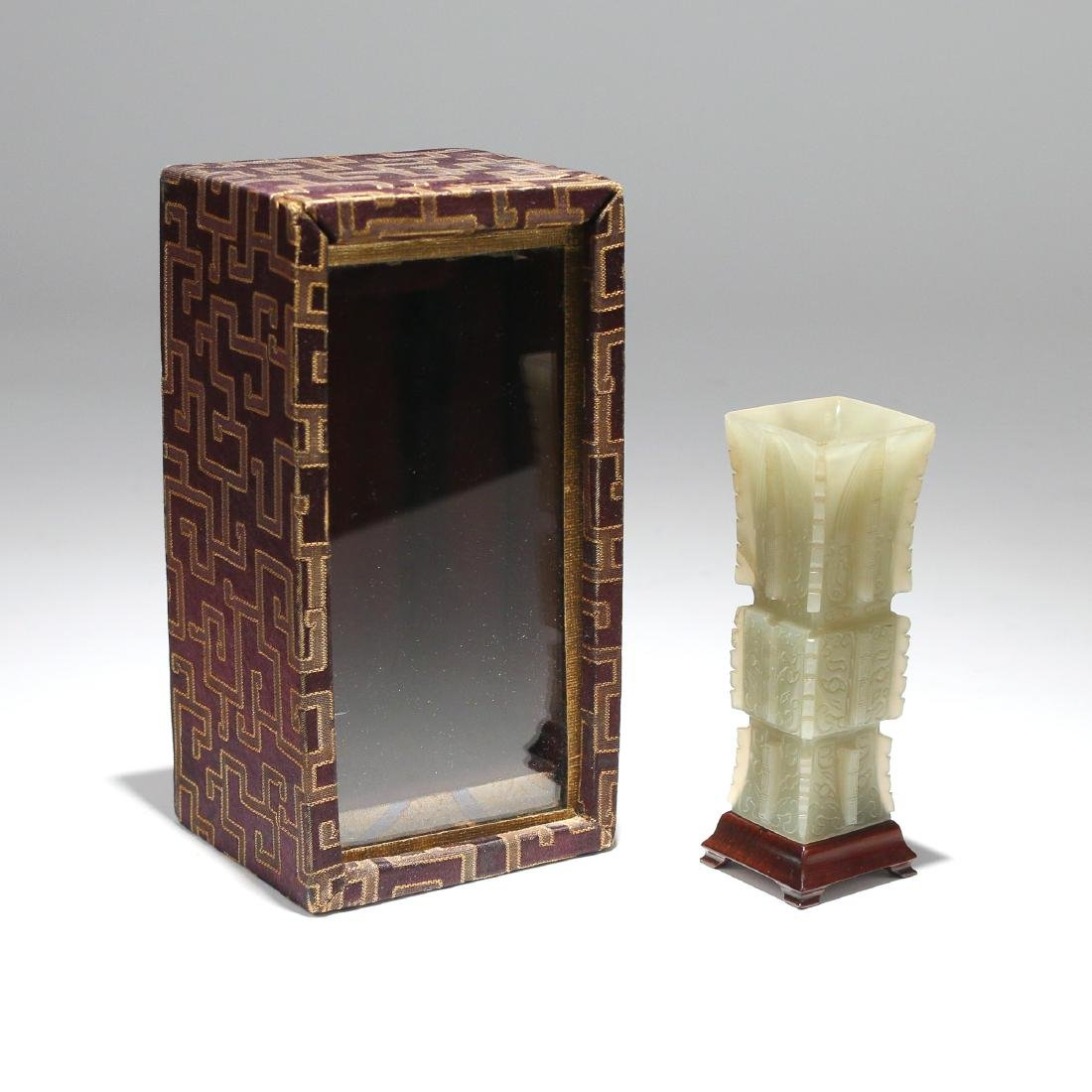 CHINESE CARVED JADE SQUARE GU OR CONG - 6