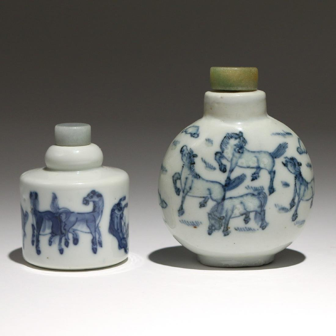 (2pc) CHINESE BLUE & WHITE PORCELAIN SNUFF BOTTLES