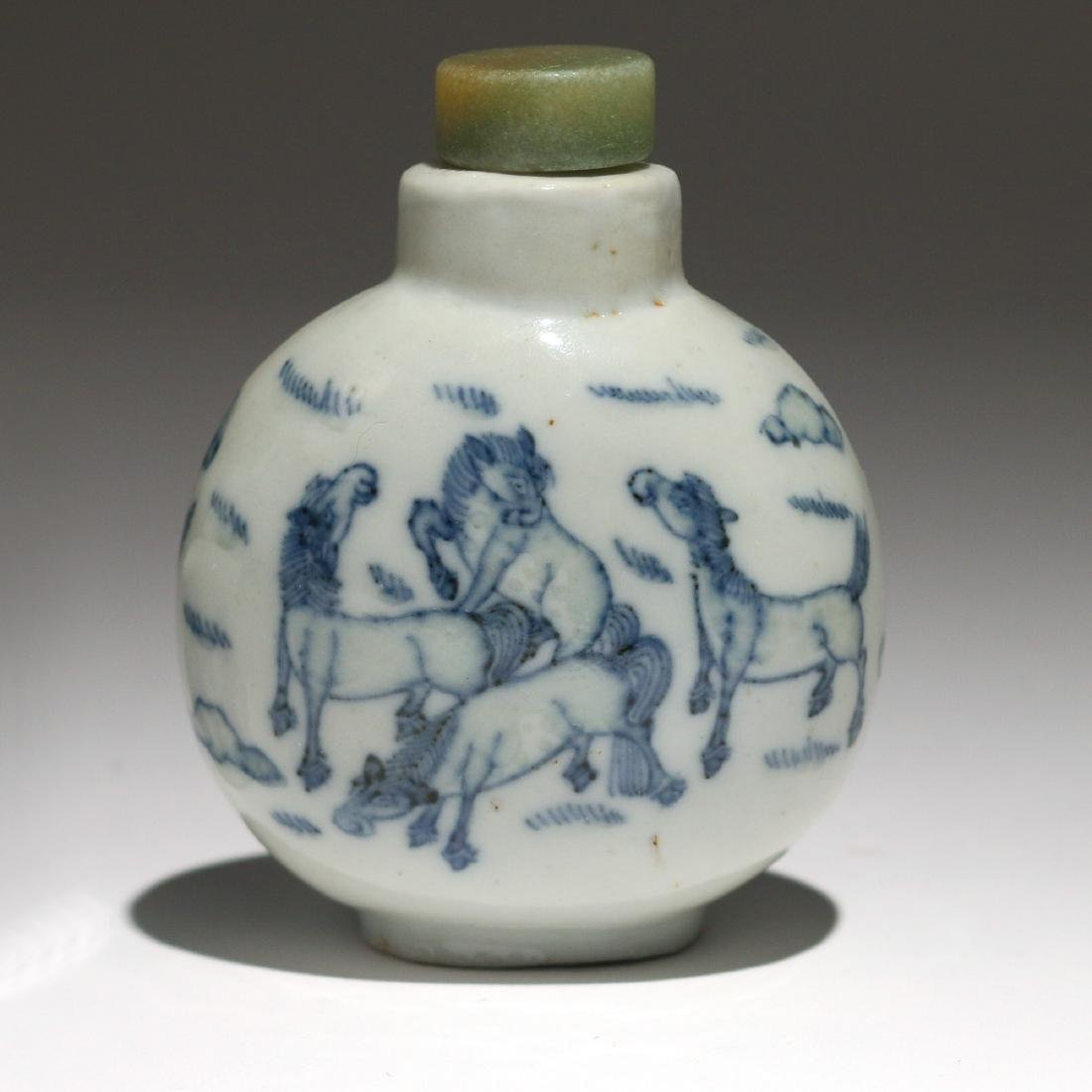 (2pc) CHINESE BLUE & WHITE PORCELAIN SNUFF BOTTLES - 3