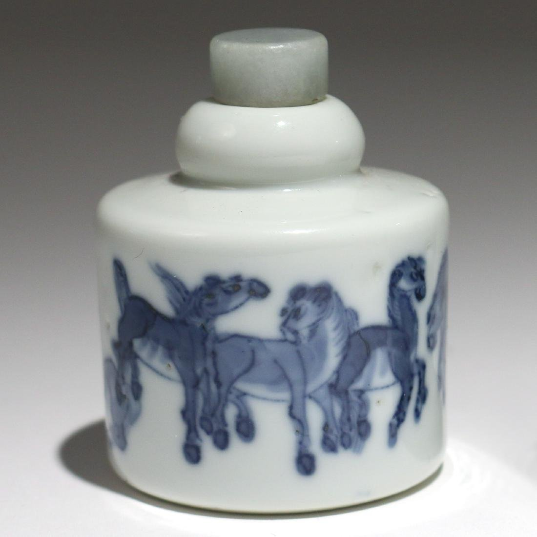 (2pc) CHINESE BLUE & WHITE PORCELAIN SNUFF BOTTLES - 4