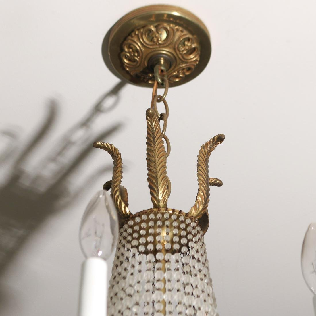 PAIR ORMOLU AND GLASS CHANDELIERS - 3