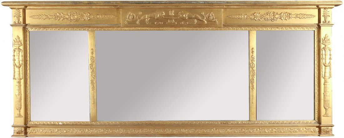 CLASSICAL STYLE GILT OVER-MANTLE MIRROR