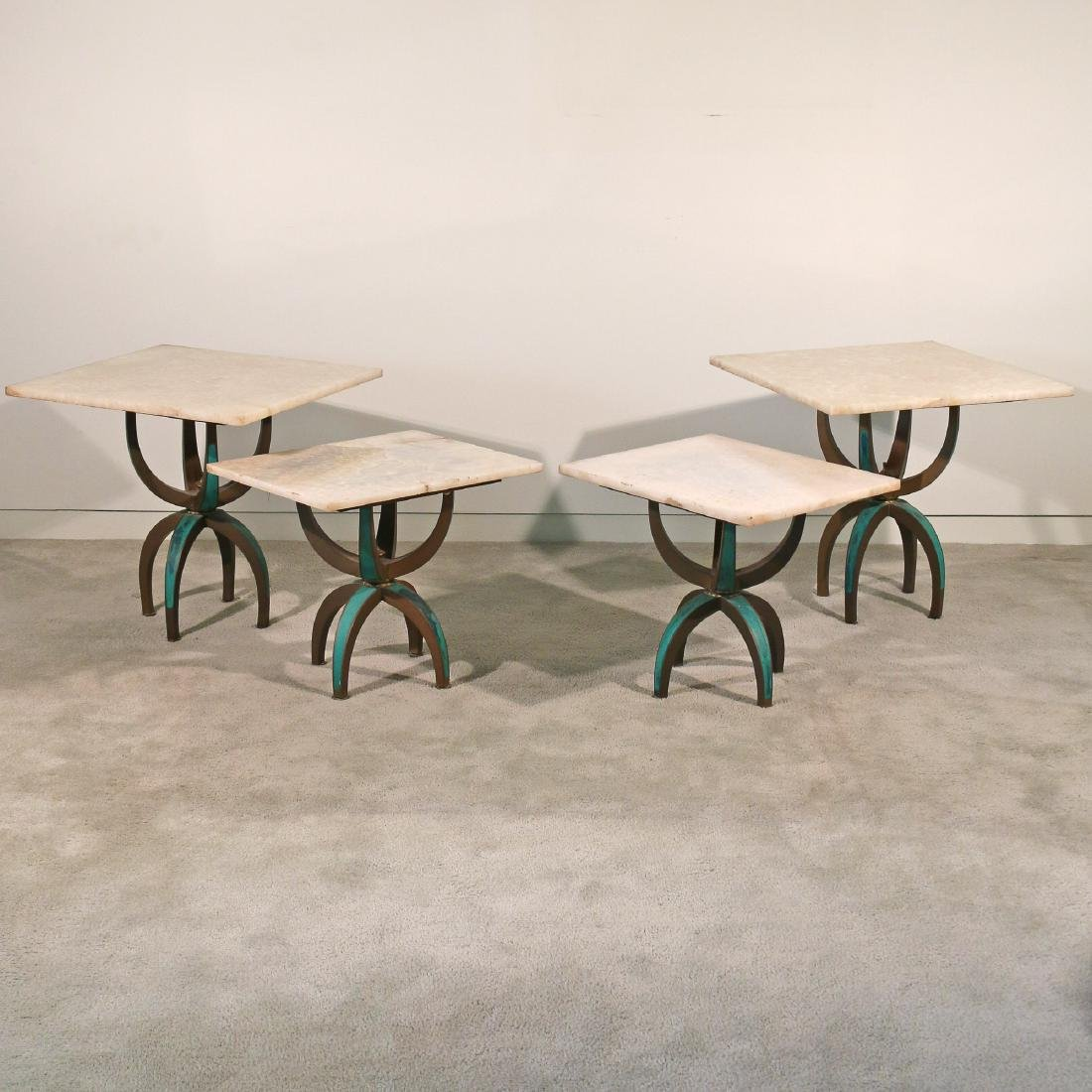 (4pc) TWO PAIRS BRASS & WHITE ONYX TABLES