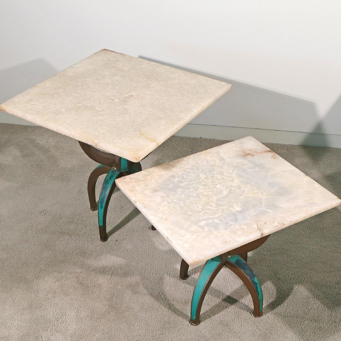 (4pc) TWO PAIRS BRASS & WHITE ONYX TABLES - 3