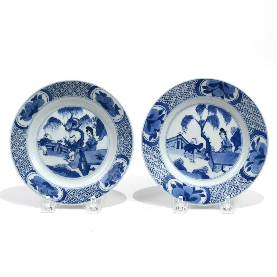 PAIR CHINESE BLUE & WHITE PORCELAIN DISHES