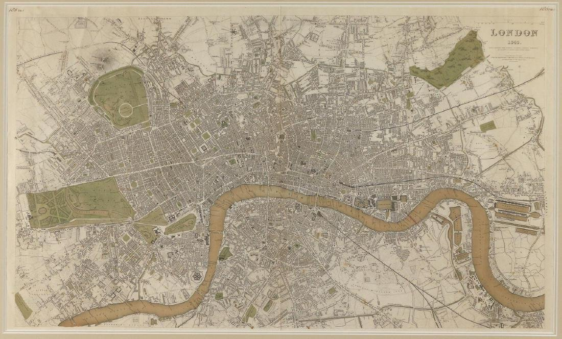 LARGE MAP OF LONDON, 1843