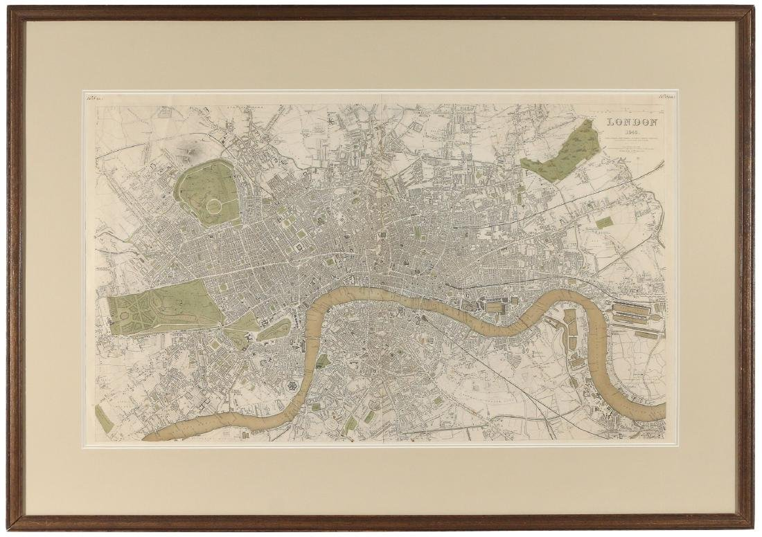 LARGE MAP OF LONDON, 1843 - 2