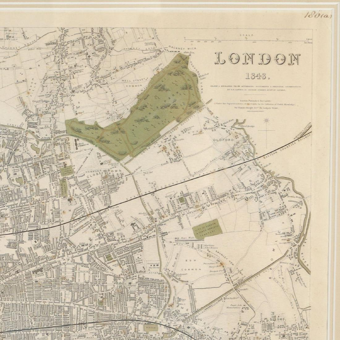 LARGE MAP OF LONDON, 1843 - 4