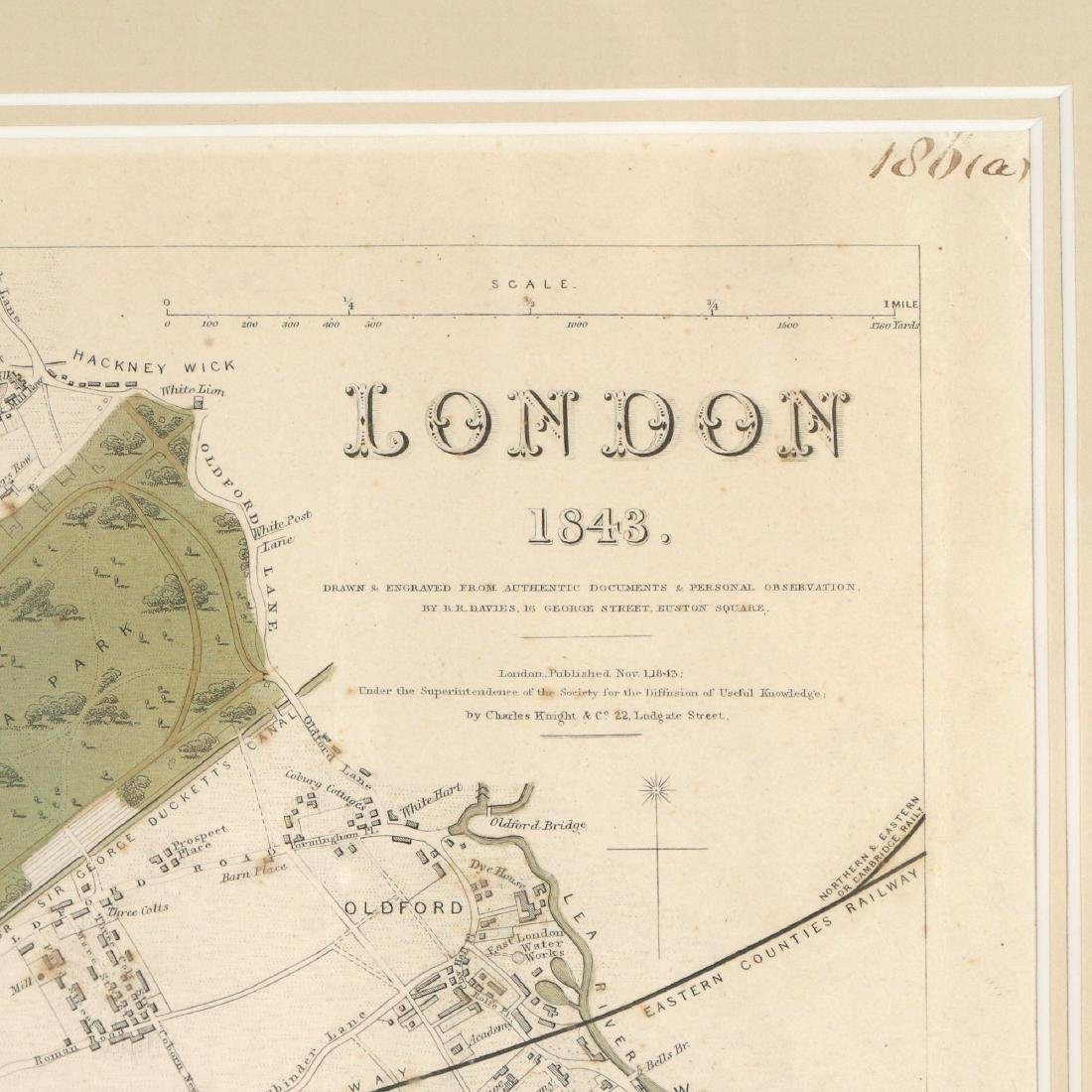 LARGE MAP OF LONDON, 1843 - 7