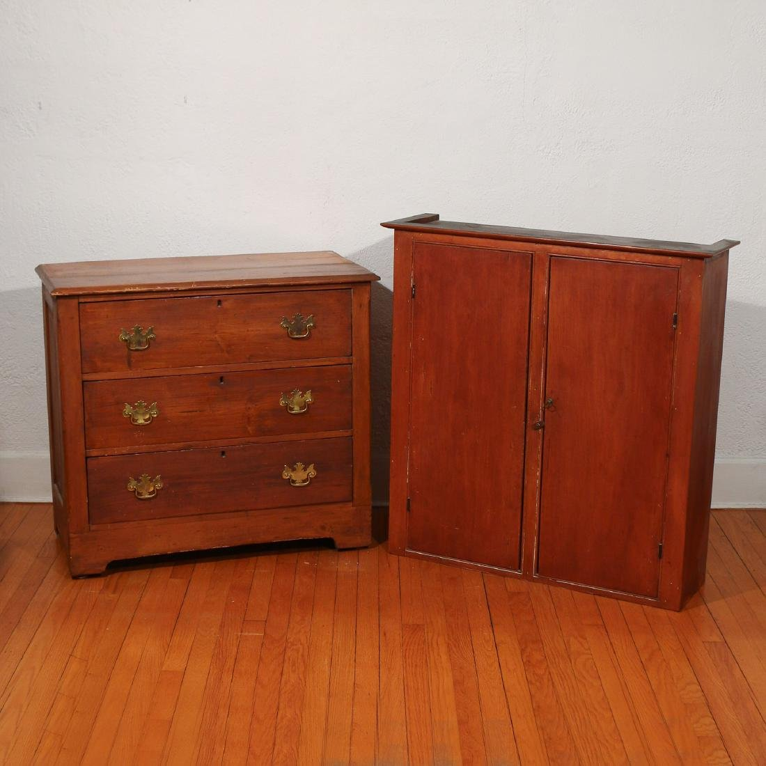 (2pc) PRIMITIVE AMERICAN CASE FURNITURE