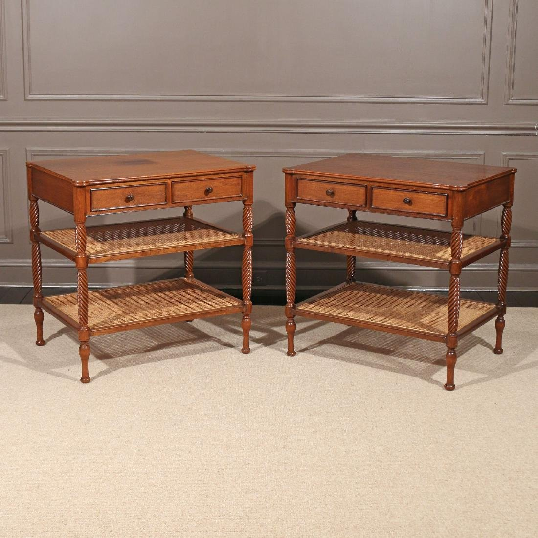 PAIR REGENCY-STYLE MAHOGANY END TABLES