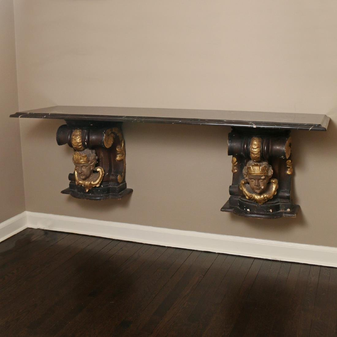 ANTIQUE CORBEL & MARBLE TOP CONSOLE