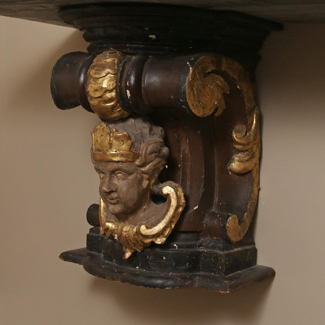 ANTIQUE CORBEL & MARBLE TOP CONSOLE - 2