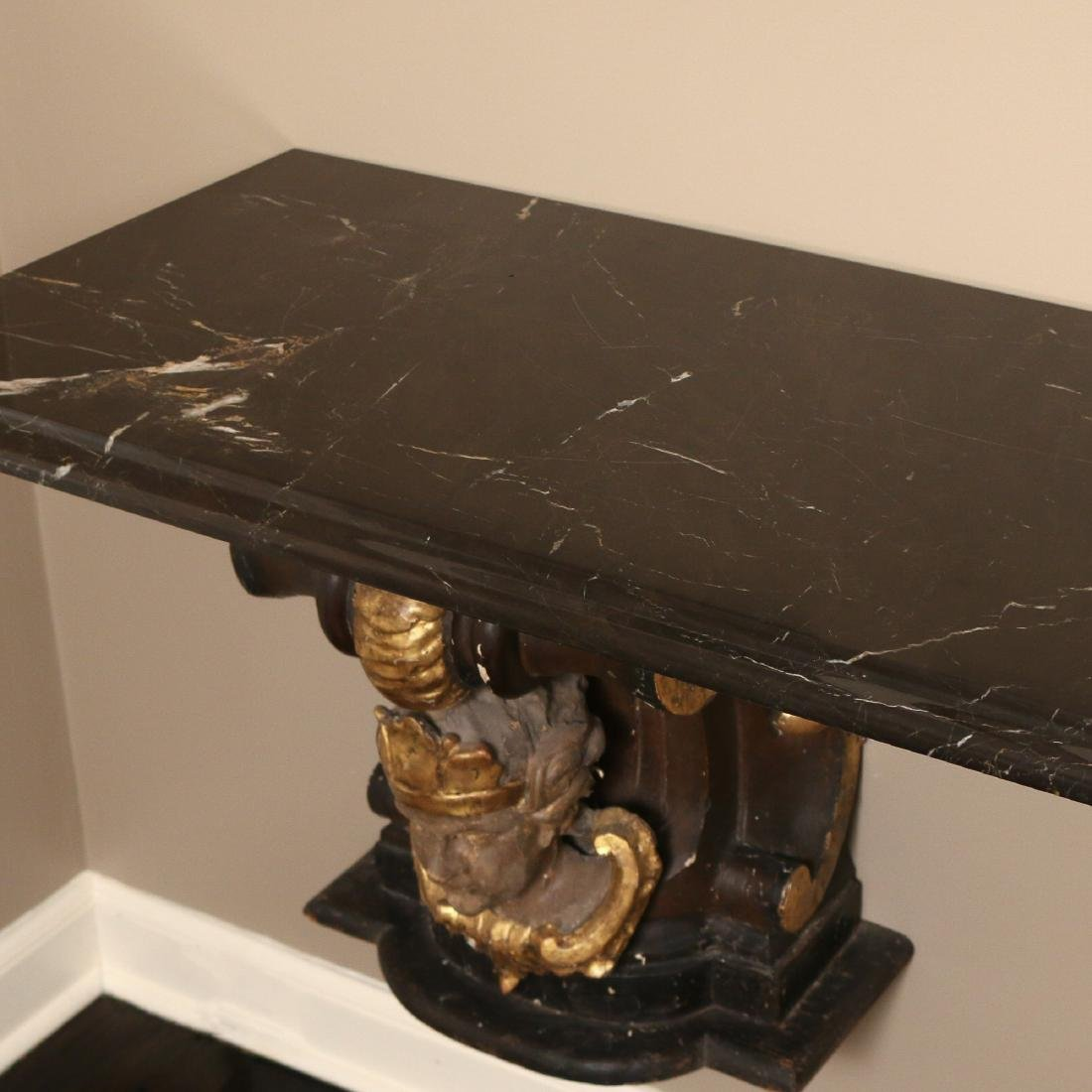 ANTIQUE CORBEL & MARBLE TOP CONSOLE - 4