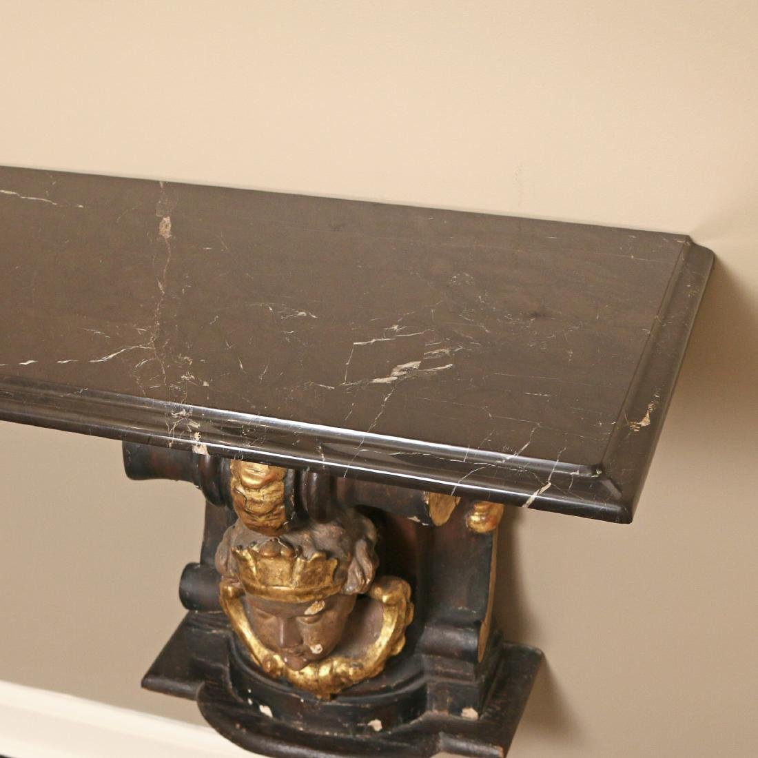 ANTIQUE CORBEL & MARBLE TOP CONSOLE - 5
