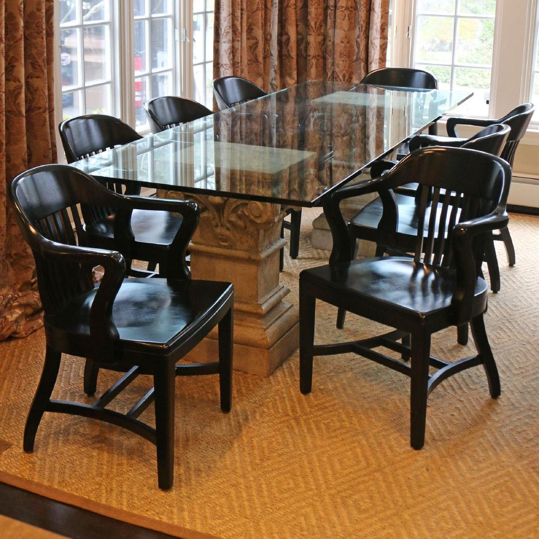 (9pc) GLASS-TOP TABLE AND EIGHT CAPTAINS CHAIRS