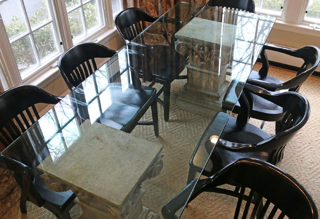 (9pc) GLASS-TOP TABLE AND EIGHT CAPTAINS CHAIRS - 3