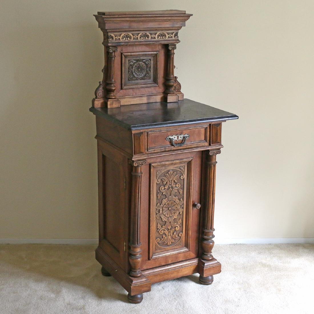 AESTHETIC PERIOD CARVED BEDSIDE TABLE