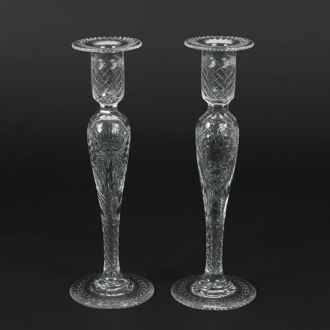 (5pc) FOSTORIA-TYPE ETCHED GLASS GARNITURE - 4