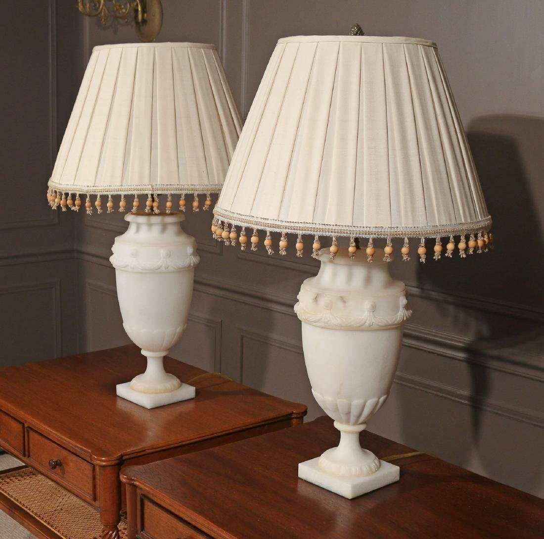 PAIR ALABASTER TABLE LAMPS