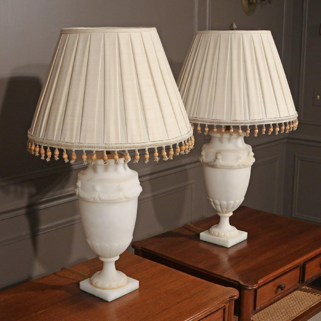 PAIR ALABASTER TABLE LAMPS - 3