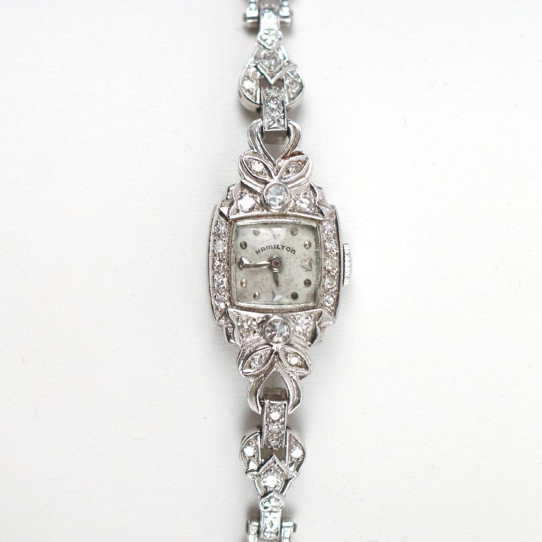 LADY'S PLATINUM & DIAMOND WRISTWATCH