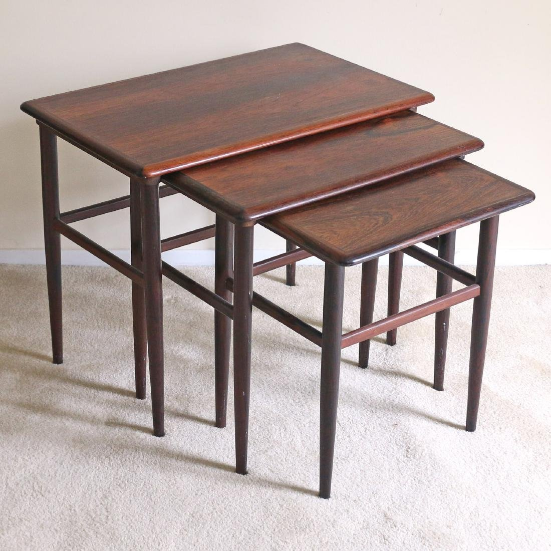 (3pc) NEST OF ROSEWOOD SNACK TABLES