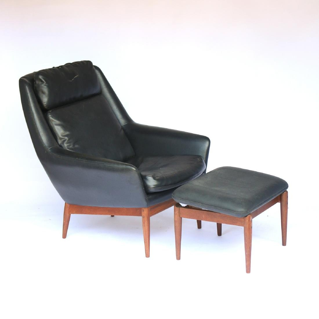 NORWEGIAN WALNUT LOUNGE CHAIR & OTTOMAN
