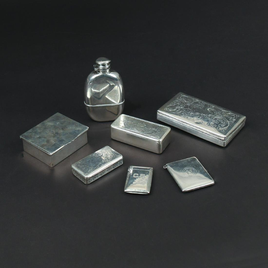 (7pc) MISC. SILVER BOXES & FLASK
