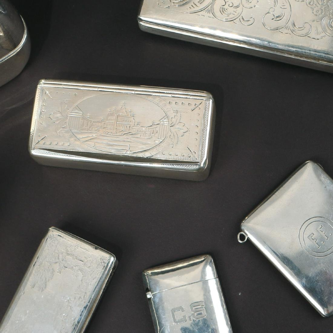 (7pc) MISC. SILVER BOXES & FLASK - 3