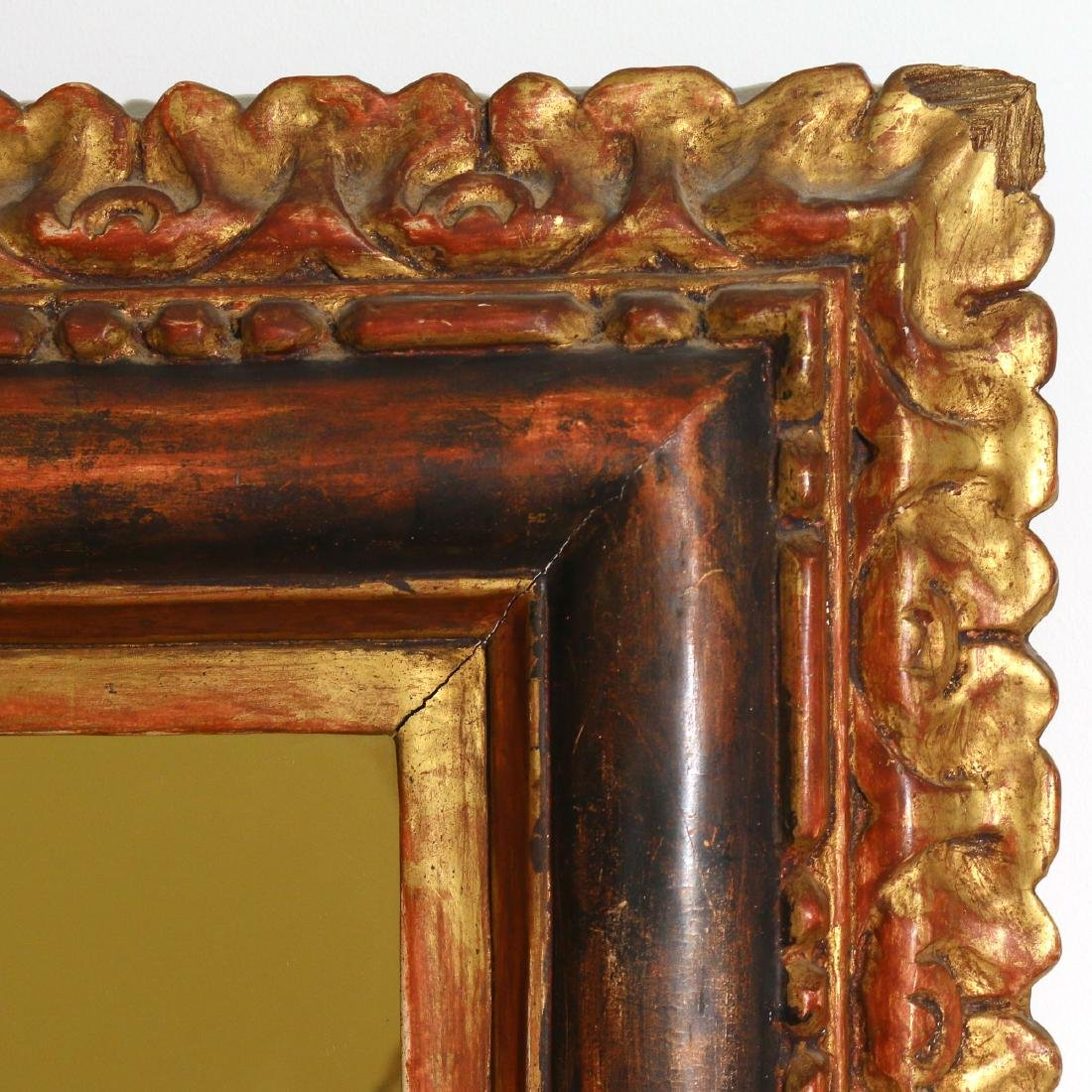 ANTIQUE GILT CARVED WALL MIRROR - 2