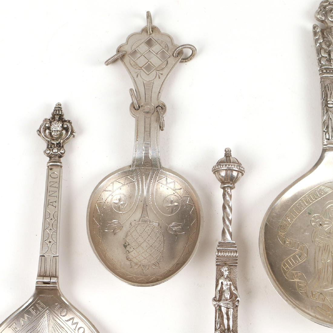 (5pc) CONTINENTAL SILVER SERVING SPOONS - 4