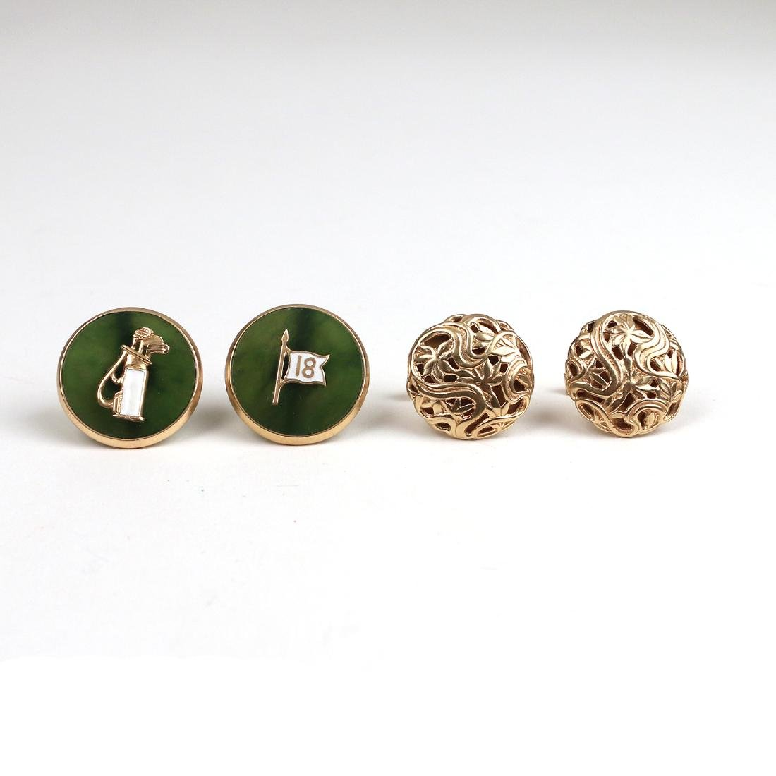 (4pc) TWO PAIRS GOLD CUFFLINKS