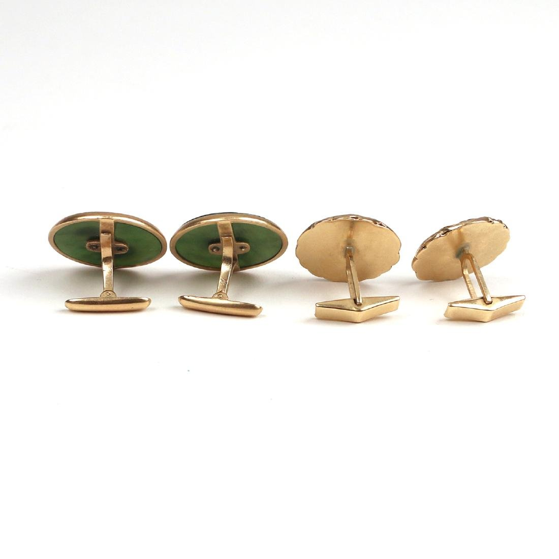 (4pc) TWO PAIRS GOLD CUFFLINKS - 2