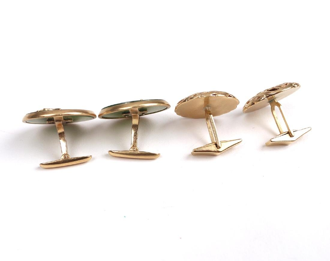 (4pc) TWO PAIRS GOLD CUFFLINKS - 3