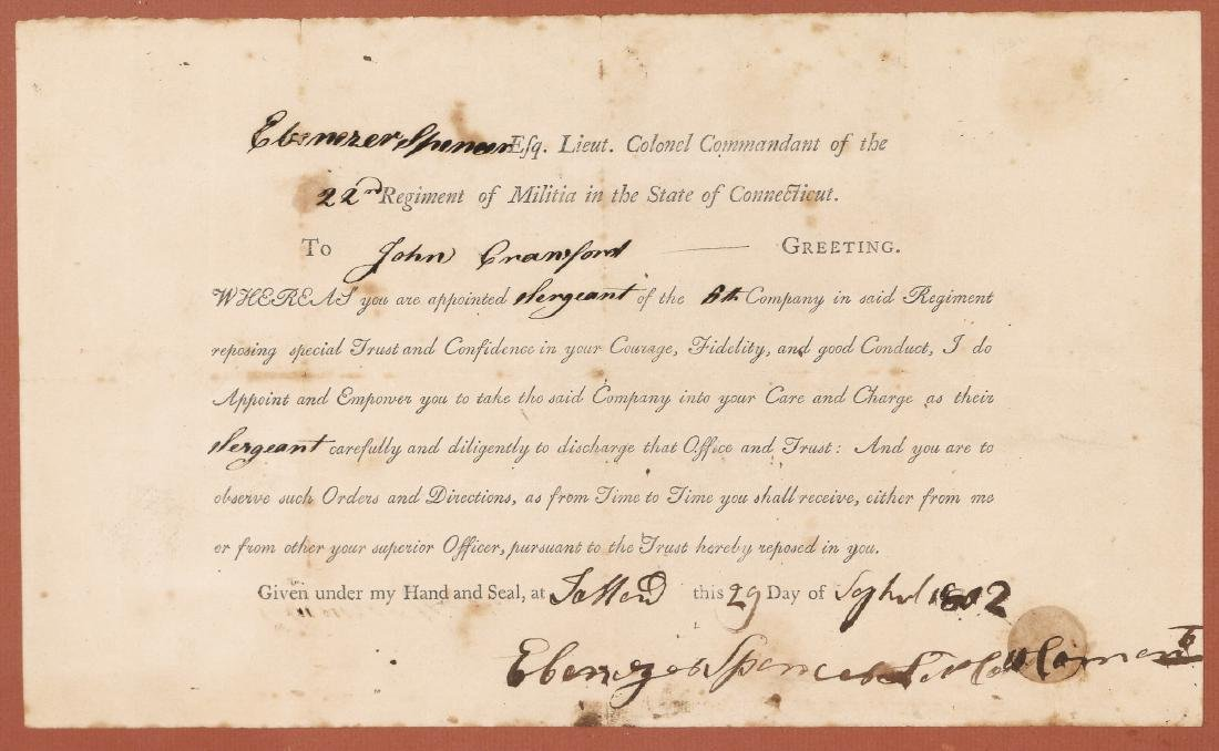 EARLY CONNECTICUT MILITIA APPOINTMENT