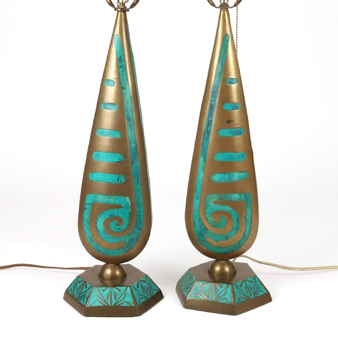 PAIR BRASS & ENAMEL DECORATED LAMPS