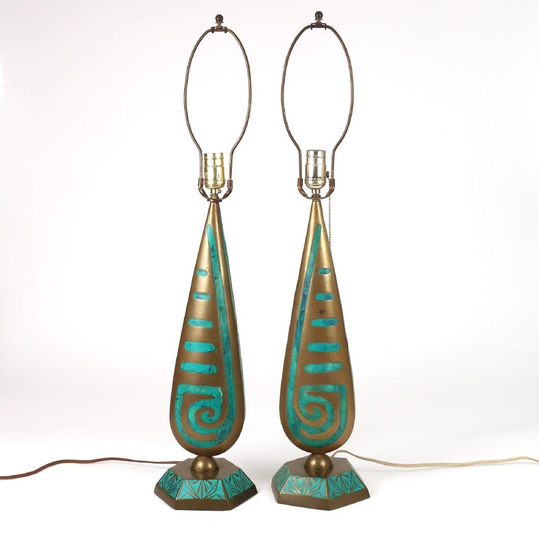 PAIR BRASS & ENAMEL DECORATED LAMPS - 2