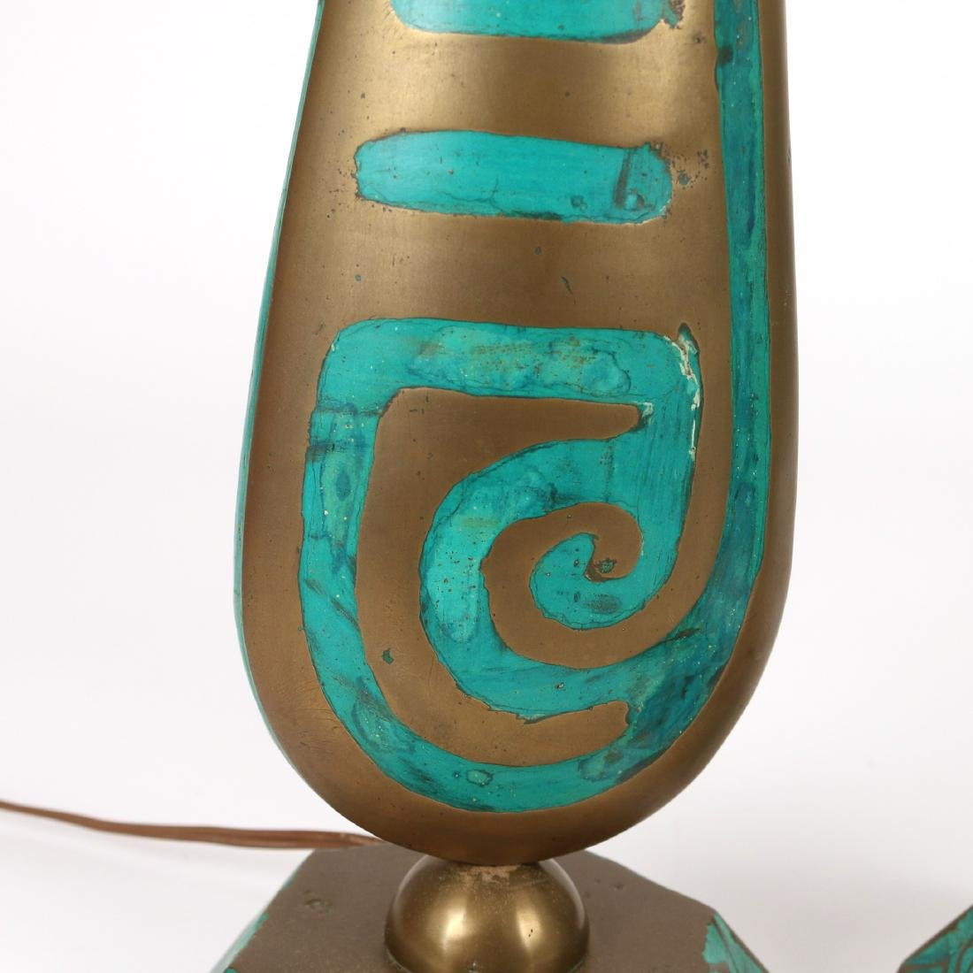PAIR BRASS & ENAMEL DECORATED LAMPS - 3