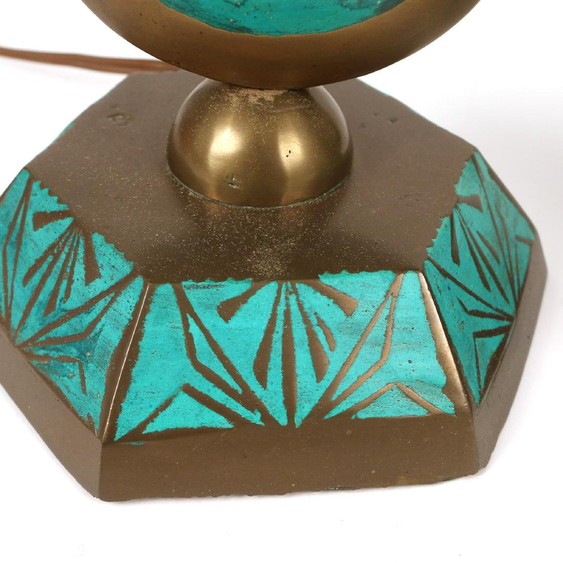 PAIR BRASS & ENAMEL DECORATED LAMPS - 4